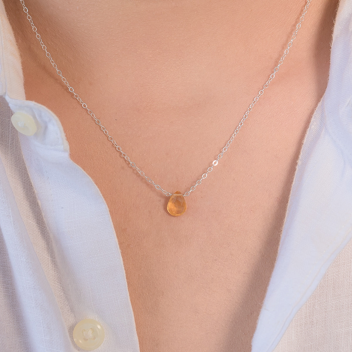 November Citrine Birthstone Necklace Liz.Beth Jewelry Co.