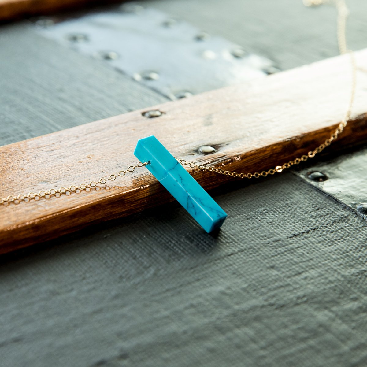 Turquoise Vertical Bar Necklace | Liz.Beth Jewelry Co.