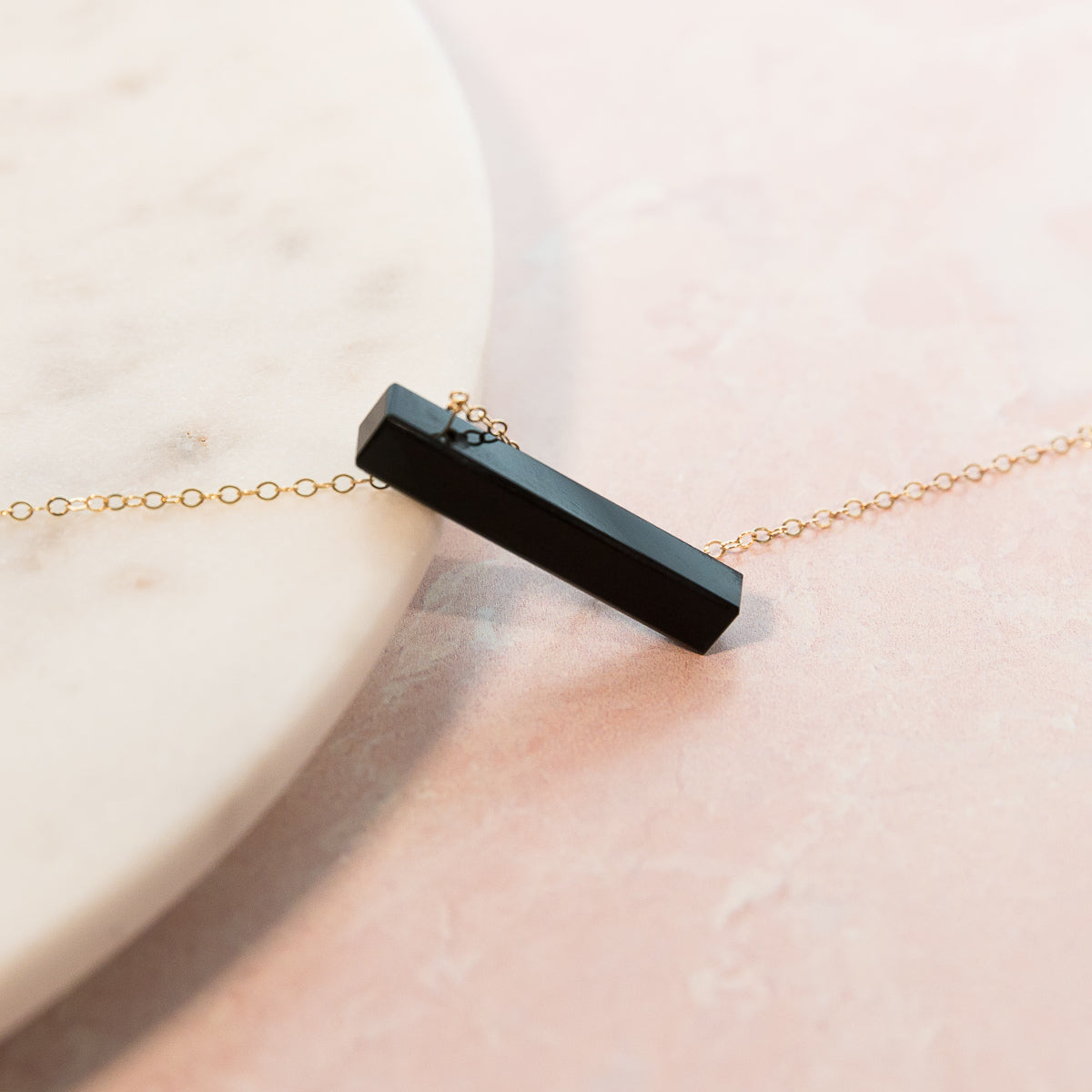 Black Agate Vertical Bar Necklace | Liz.Beth Jewelry Co.