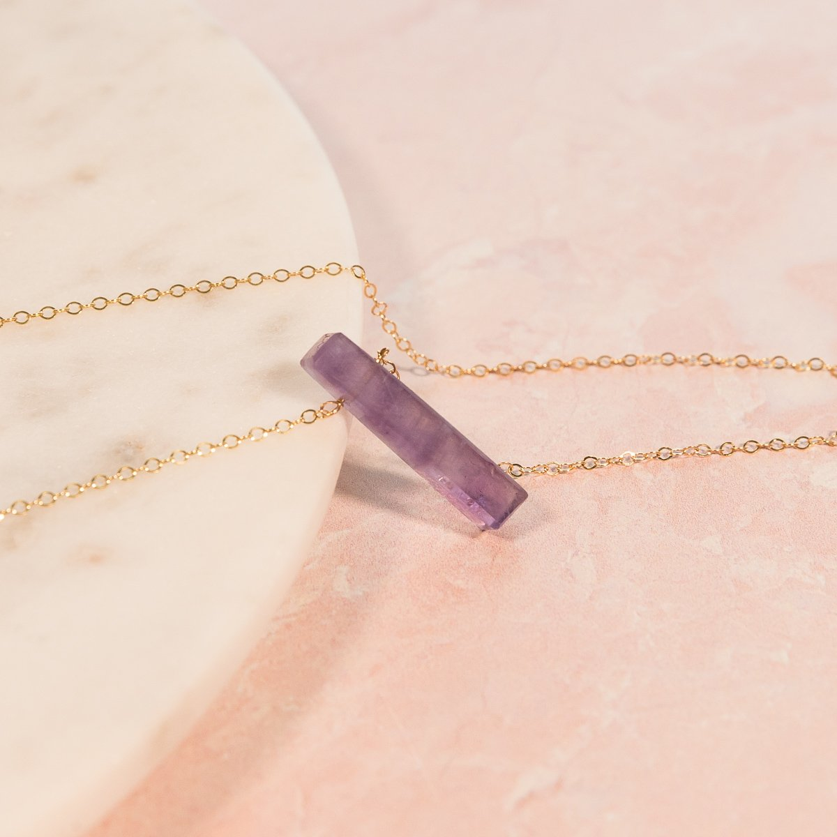 Amethyst Vertical Bar Necklace | Liz.Beth Jewelry Co.
