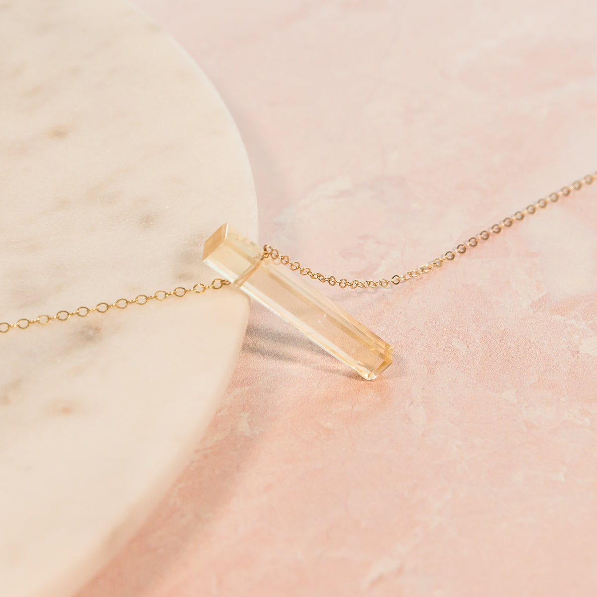 Yellow Citrine Vertical Bar Necklace | Liz.Beth Jewelry Co.