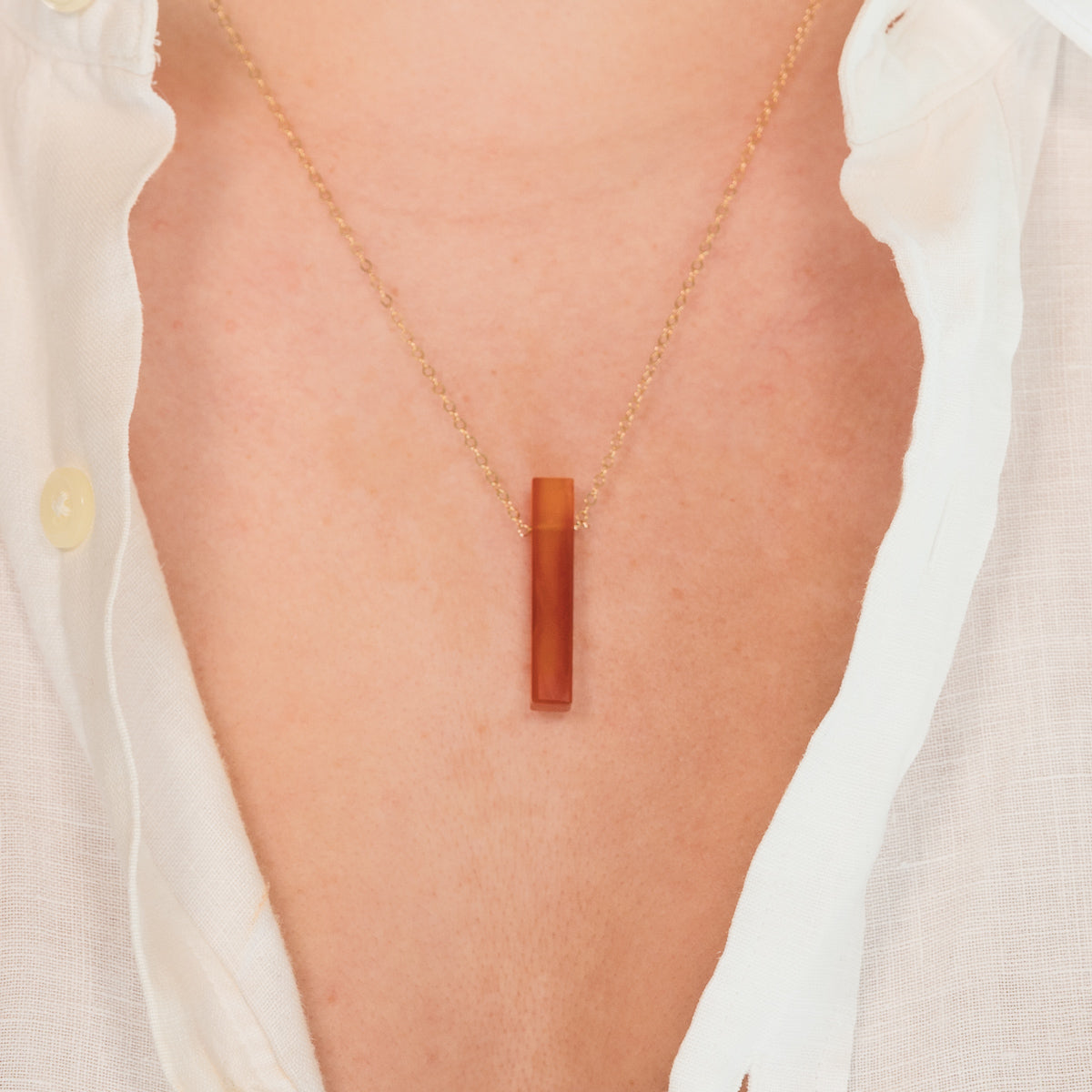 Red Carnelian Gemstone Vertical Bar Necklace | Liz.Beth Jewelry Co.