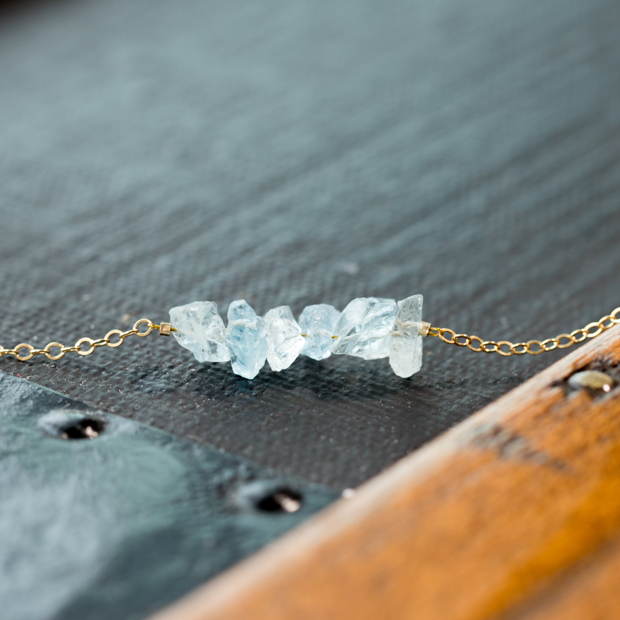 Raw Blue Aquamarine Gemstone Bar Anklet