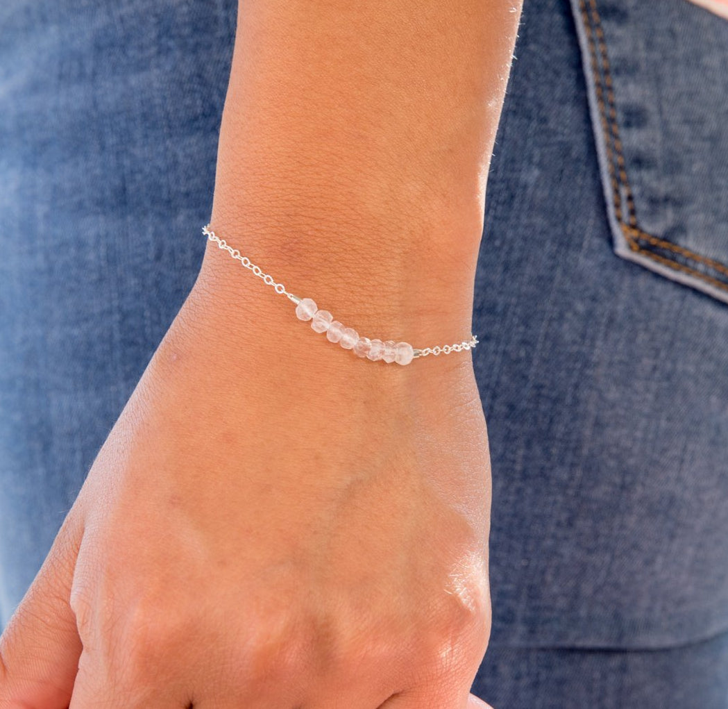 Rose Quartz Bracelet, Bridal Party Jewelry, Healing Crystal Jewelry, Dainty Rose Quartz Bracelet, Minimal Bracelet, Bohemian, Gemstone Bracelet, Liz.Beth Jewelry Co.