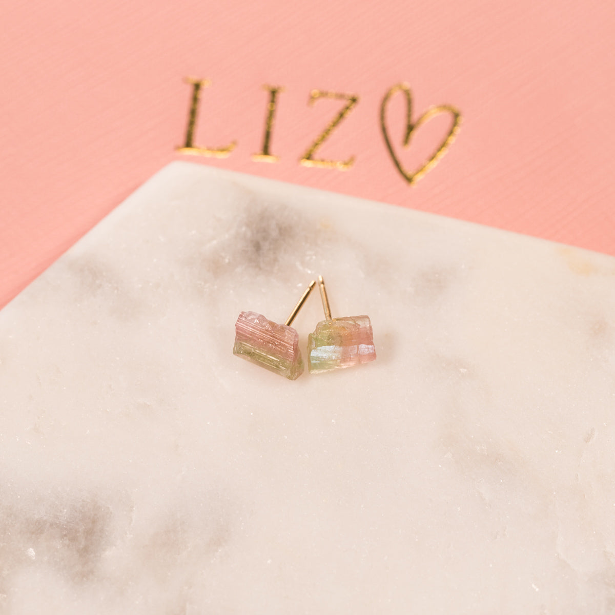 Watermelon Tourmaline Earrings, Raw tourmaline Earrings, Gold Stud Earrings, Natural Crystal Earrings, Stud Earrings, Gemstone Earrings, Healing Crystal Jewelry, Statement Earrings, Mismatched Earrings, Gemstone Earrings Liz.Beth Jewelry Co.