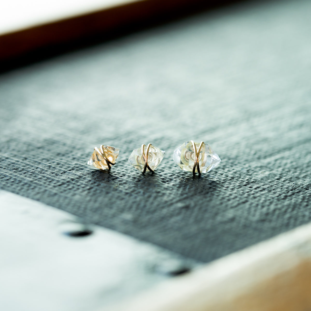 Gold Wire Wire Wrapped Herkimer Diamond Earrings | Liz.Beth Jewelry Co.