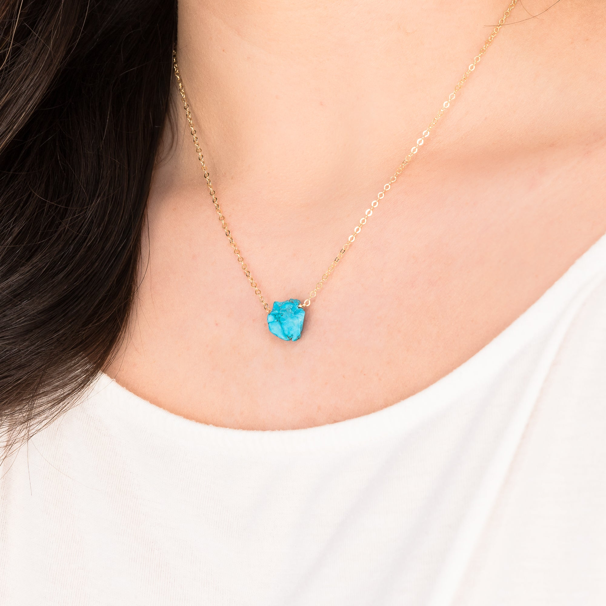 Rough Blue Turquoise Gemstone Necklace
