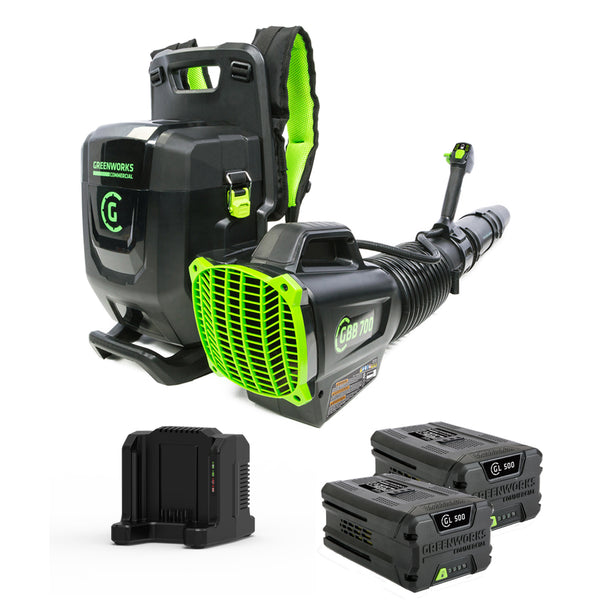 82V Commercial 690CFM Brushless Backpack Greenworks Blower Kit - Includes (2) GL-500 5.0 Ah Batteries and (1) GC-420 Dual Port Charger GBB-700 for GREENWORKS