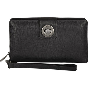 Black Leather RFID Wristlet Cash System Wallet