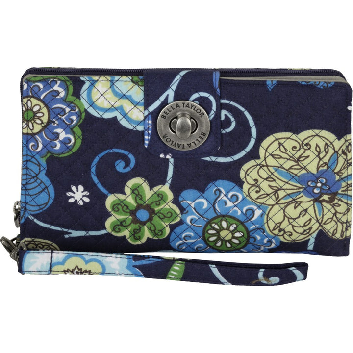 Blue Tropic Wristlet Cash System Wallet