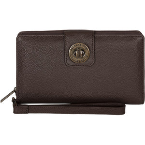Brown Leather RFID Wristlet Cash System Wallet