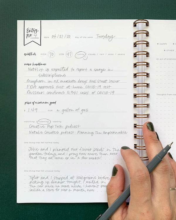 Dark Olive Daily Log Journal