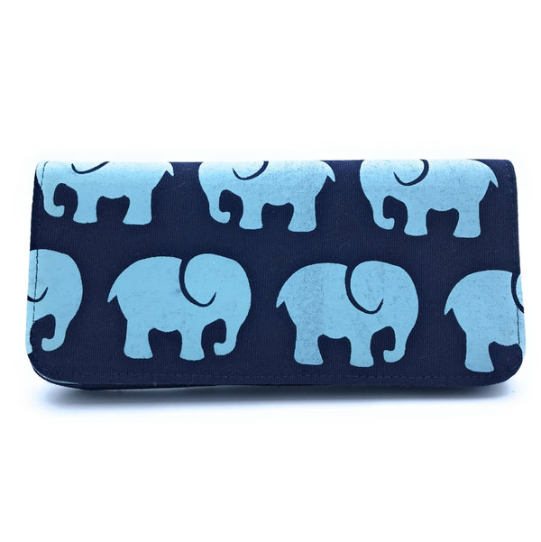 Navy Elephant Long Wallet