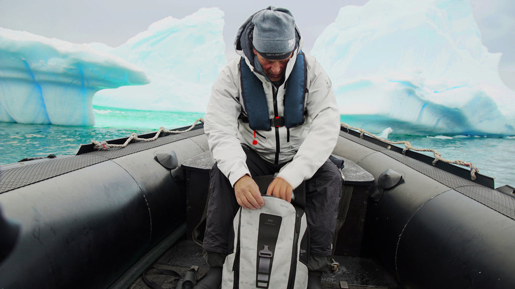 Rob Swan testing the GROUNDTRUTH backpack in Antarctica