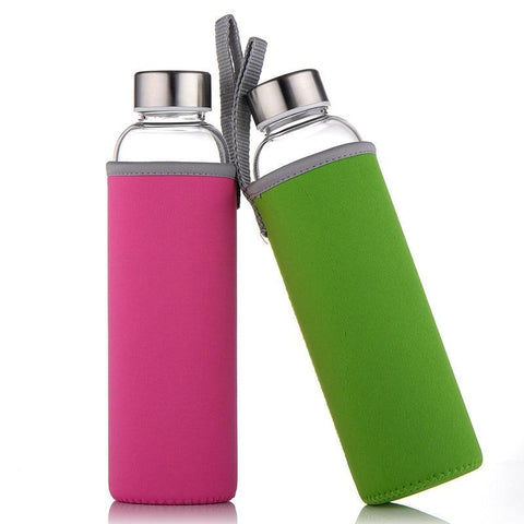 Glass Water Bottle with protective cover