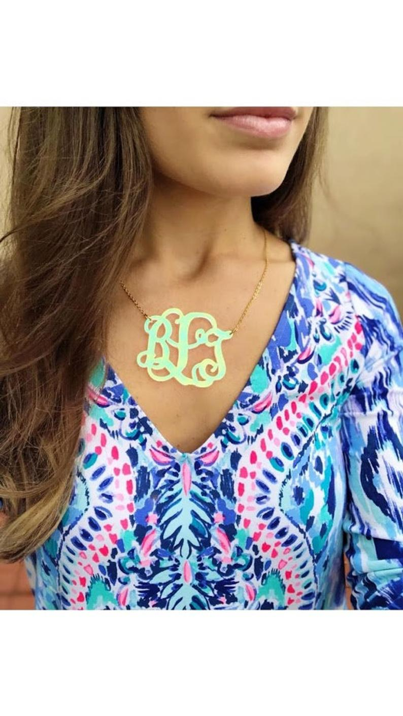 Monogrammed Iridescent Acrylic Necklace