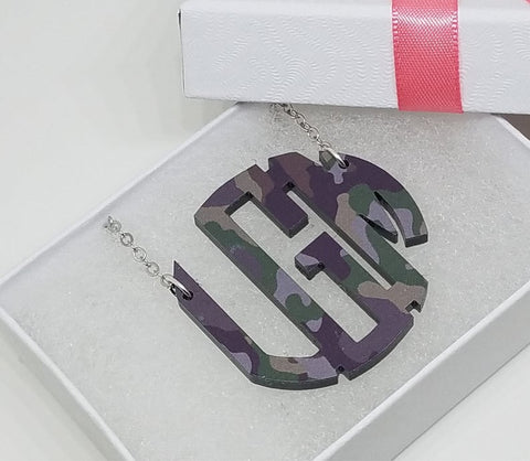 Monogrammed Camo Acrylic Necklace