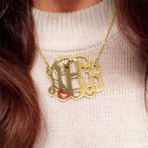 Monogrammed Mirrored Gold Acrylic Necklace