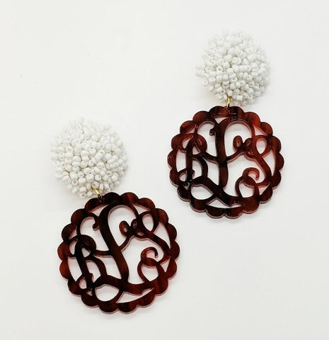Monogrammed Scalloped Tortoise Earrings