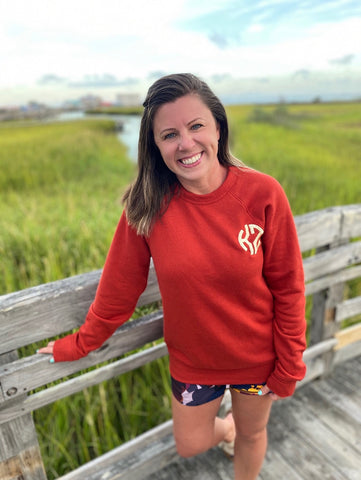 Monogrammed Rust Raglan Fleece