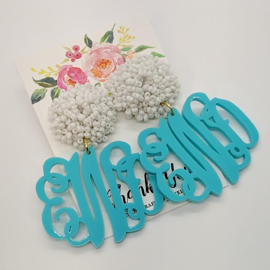 Monogrammed Turquoise Earrings
