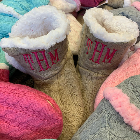Monogrammed Fuzzy Slippers