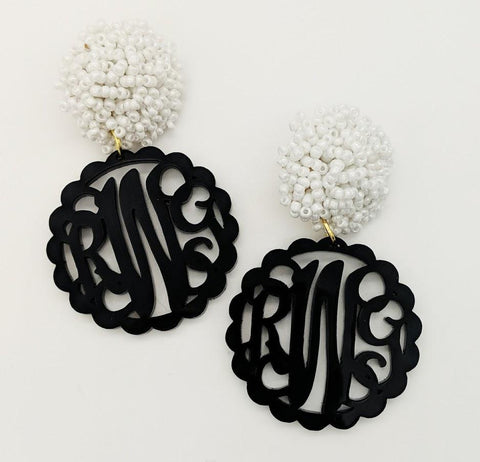 Monogrammed Scalloped Black Earrings