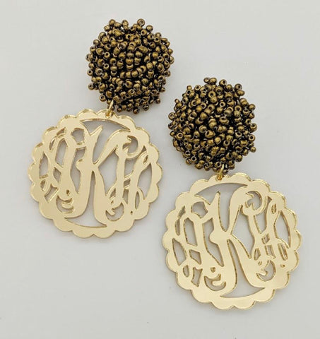 Monogrammed Scalloped Mirrored Gold Earrings