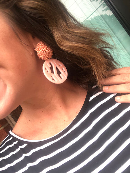 Coral Monogrammed Earrings