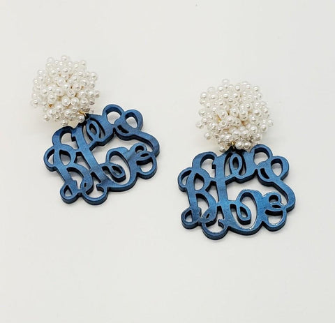 Monogrammed Navy Pearl Earrings
