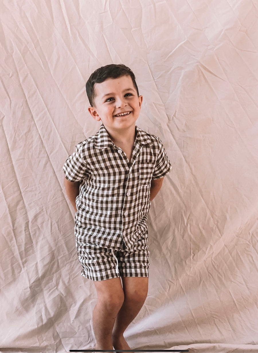 Baby Bobby Button Up Shirt and Shorts Set - Gingham