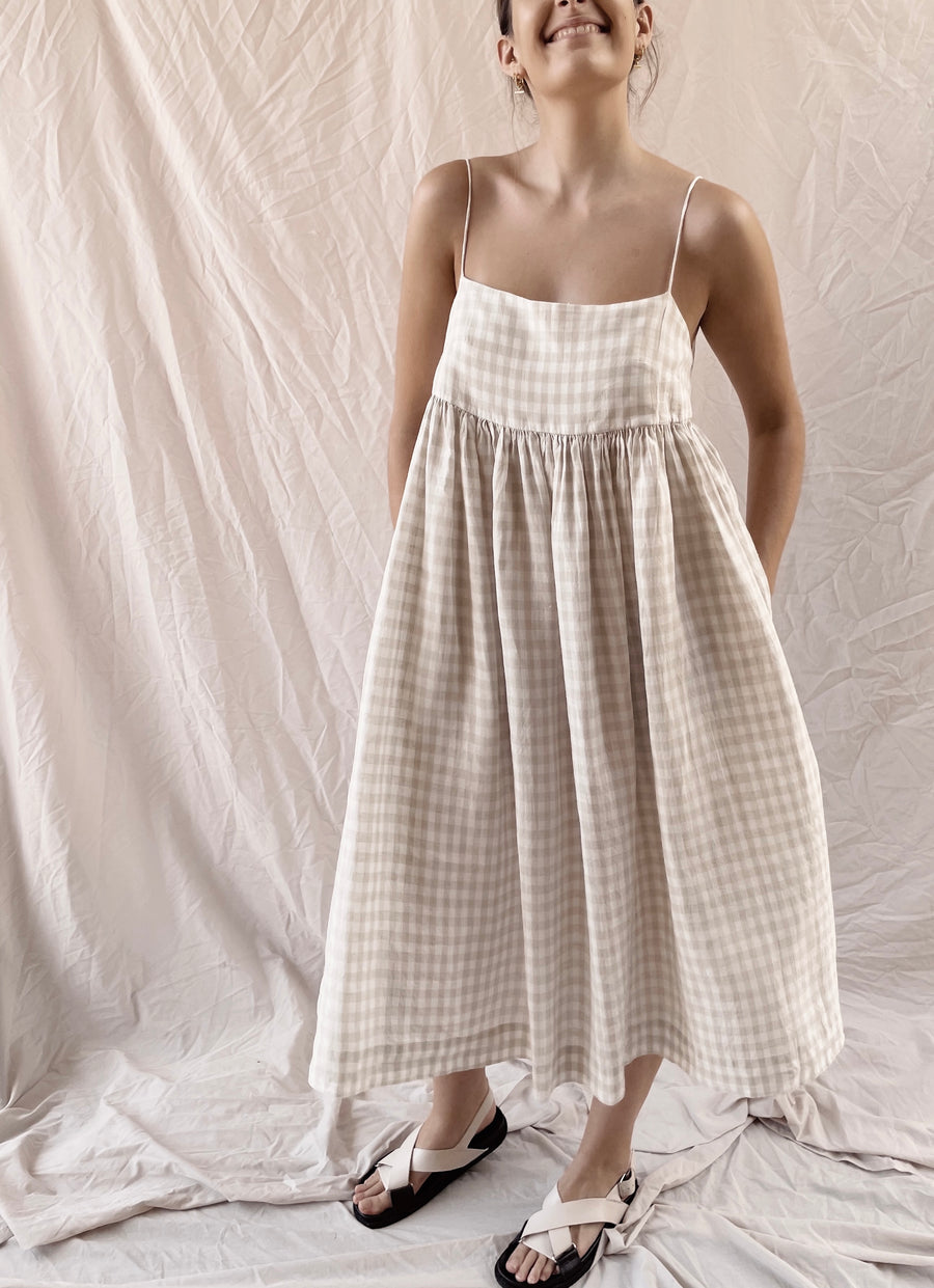 Women's Goldie Gingham Linen Dress