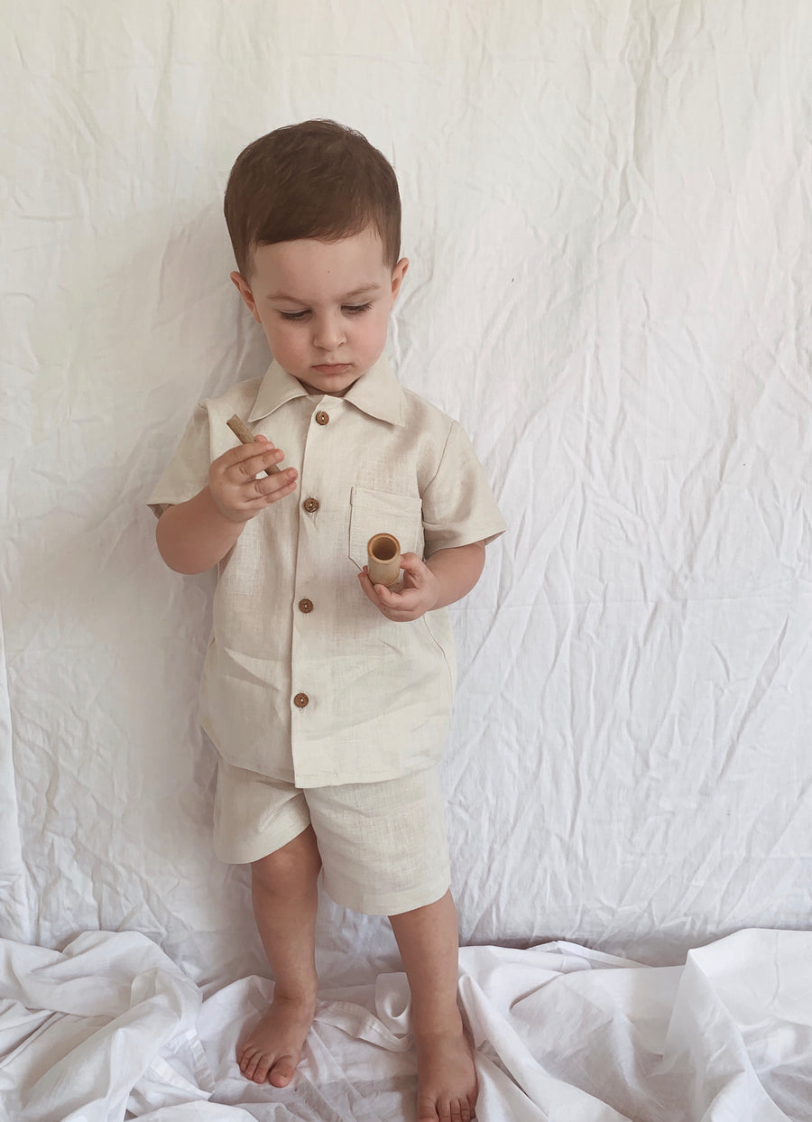 Baby Bobby Button Up Shirt and Shorts Set - Linen