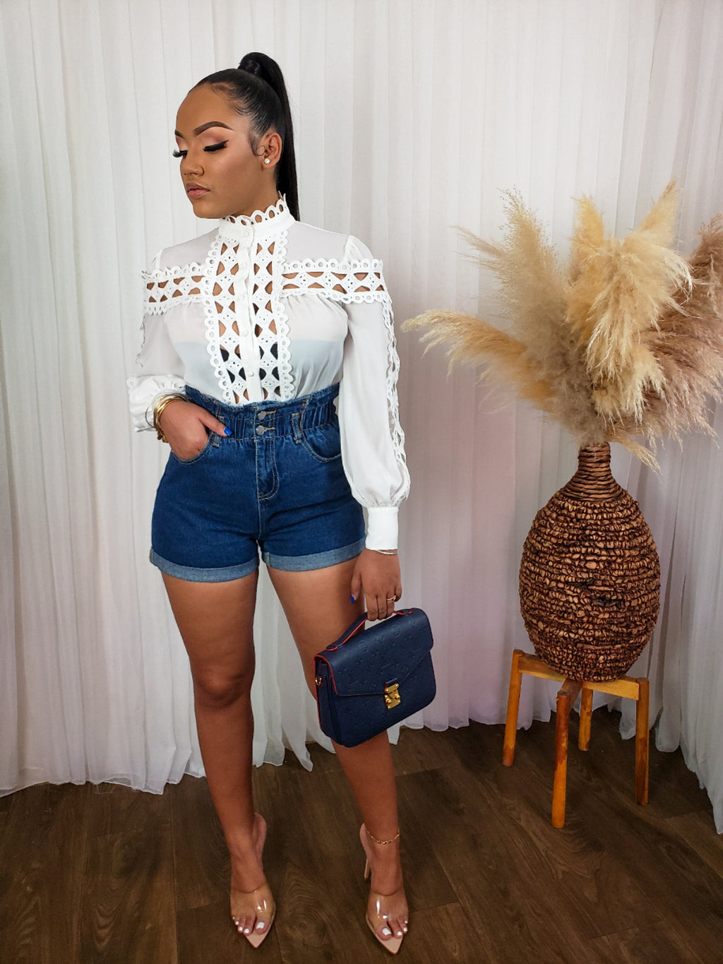 Juju High Waist Denim Shorts
