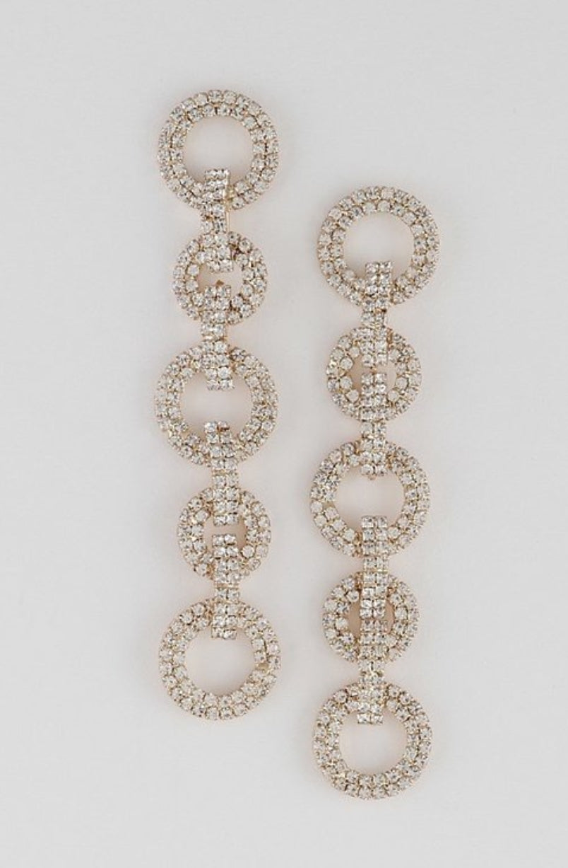 "Rhinestone Round Chain Earrings * 0.8 x 3.8"" approx."
