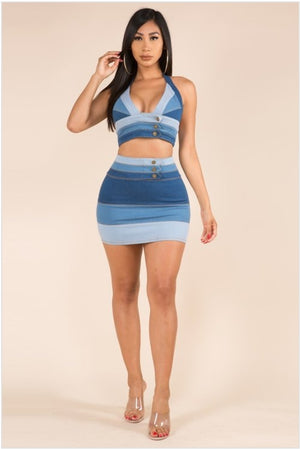 Denim Color Block Skirt Set