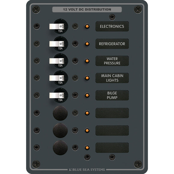 Blue Sea 8023 DC 8 Position Circuit Breaker - White Switches [8023]