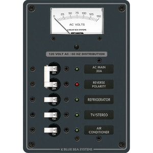 Blue Sea 8043 AC Main +3 Positions Toggle Circuit Breaker Panel - White Switches [8043]