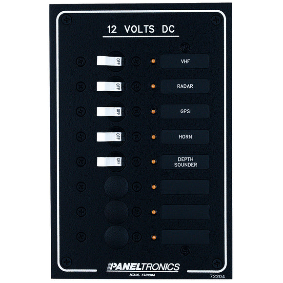 Paneltronics Standard DC 8 Position Breaker Panel w-LEDs [9972204B]