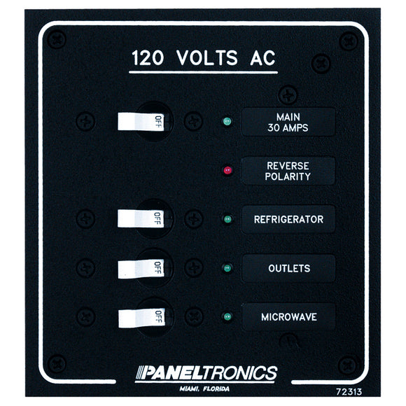 Paneltronics Standard AC 3 Position Breaker Panel & Main w-LEDs [9972313B]