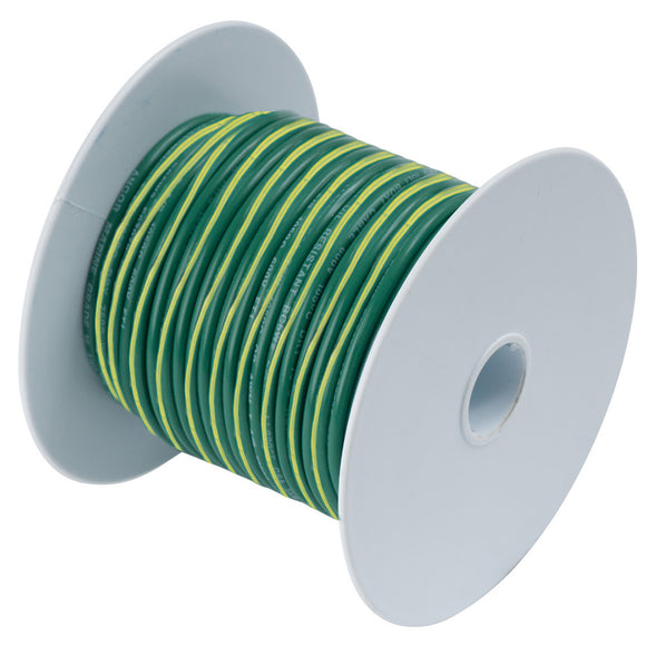 Ancor Green w-Yellow Stripe 10 AWG Tinned Copper Wire - 25' [109302]