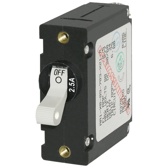Blue Sea 7917 A-Series White Toggle Circuit Breaker - Single Pole 2.5A [7197]