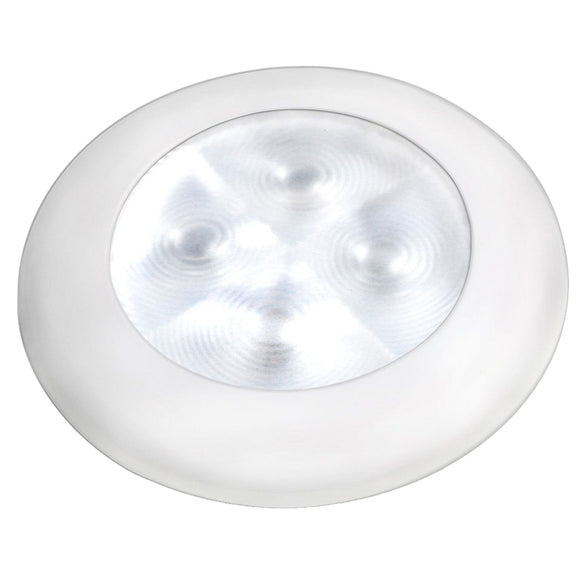 Hella Marine Slim Line LED 'Enhanced Brightness' Round Courtesy Lamp - White LED - White Plastic Bezel - 12V [980500541]