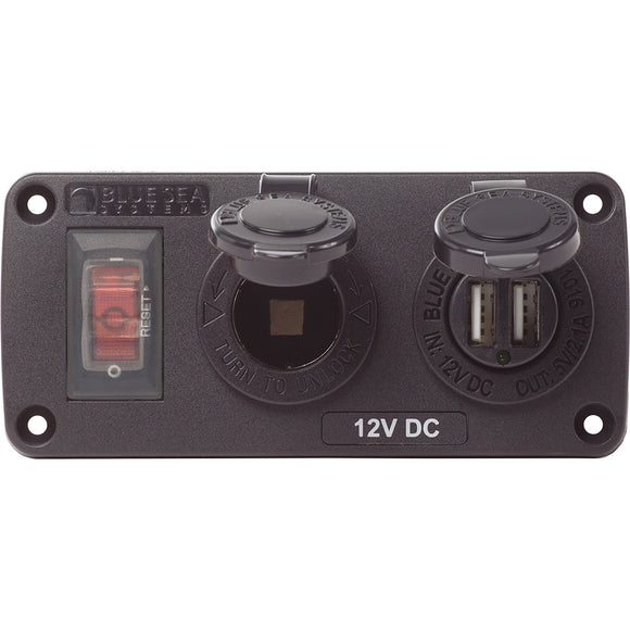 Blue Sea 4363 Water Resistant USB Accessory Panels - 15A Circuit Breaker, 12V Socket, 2.1A Dual USB Charger [4363]