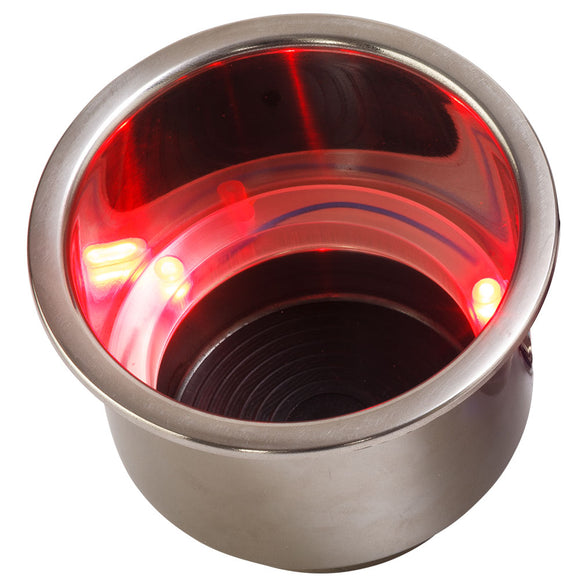 Sea-Dog LED Flush Mount Combo Drink Holder w-Drain Fitting - Red LED [588071-1]
