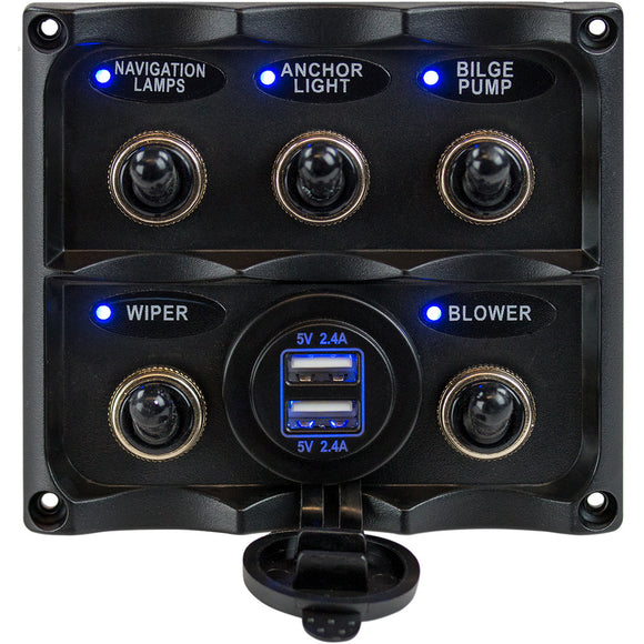 Sea-Dog Water Resistant Toggle Switch Panel w-USB Power Socket - 5 Toggle [424617-1]