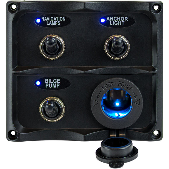 Sea-Dog Water Resistant Toggle Switch Panel w-LED Power Socket - 3 Toggle [424623-1]