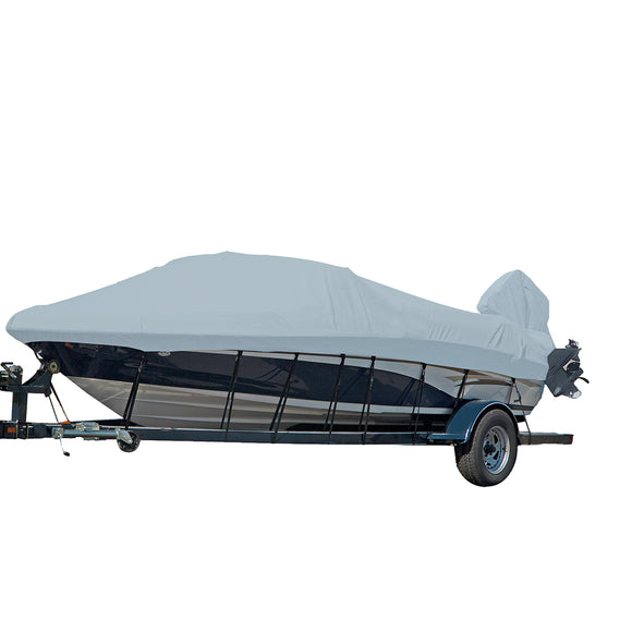 Carver Performance Poly-Guard Styled-to-Fit Boat Cover f/21.5 V-Hull Runabout Boats w/Windshield  Hand/Bow Rails - Grey [77021P-10]
