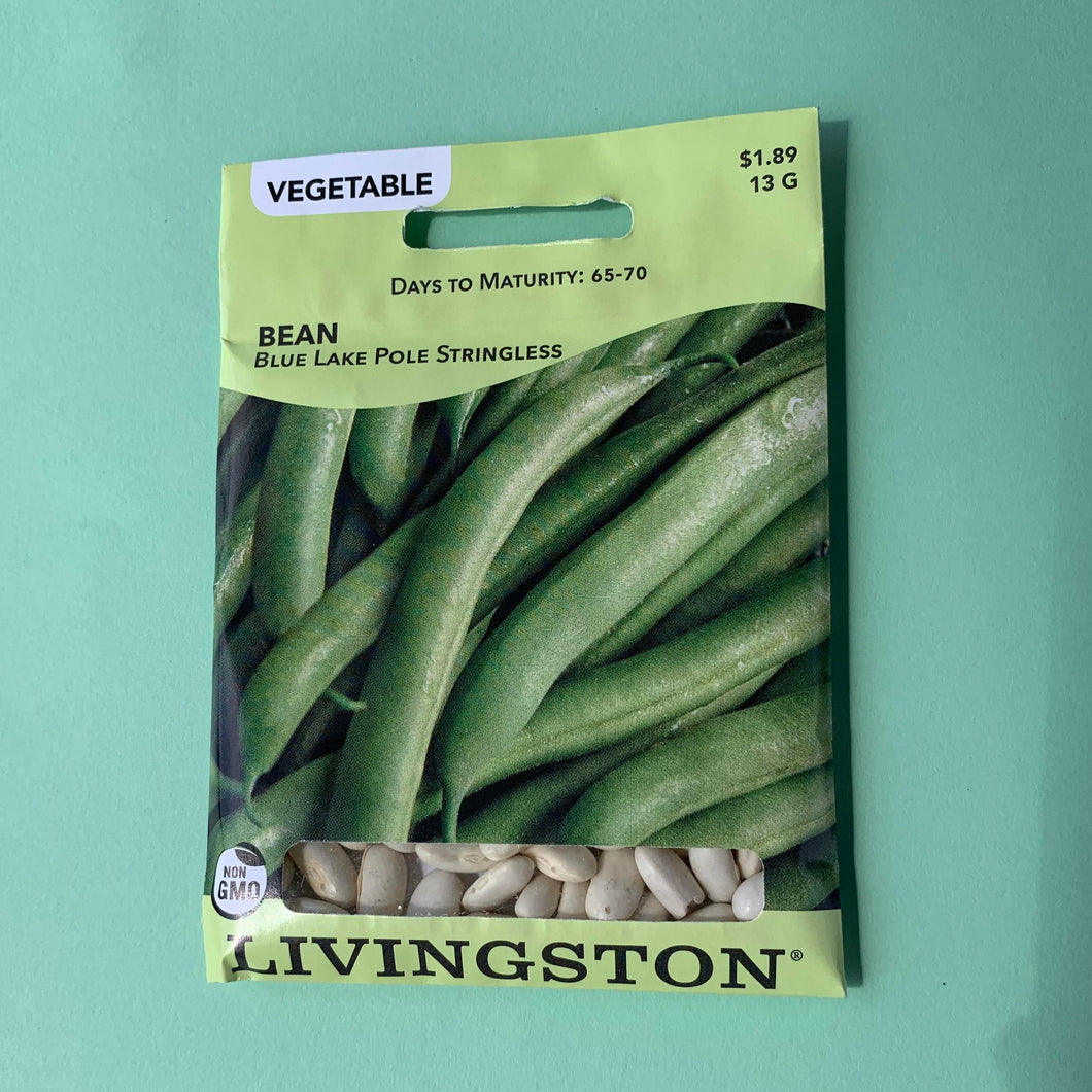 Bean Blue Lake Stringless Pole Green Seed Packet