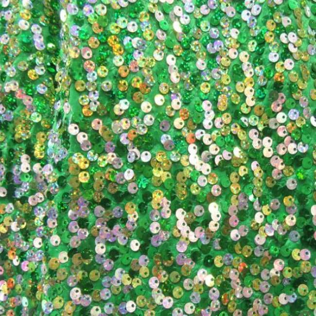 Silvergreengold Holographic Sequins On Polyester Spandex 2 Way Stretch